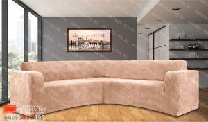 Чехол на угловой диван плюшевый Venera Soft Пудра