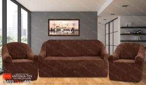 Чехлы на диван и кресла плюшевые Venera Soft Коричневый