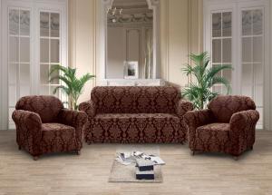Чехлы на диван и кресла жаккард-стрейч без оборки Коричневый
