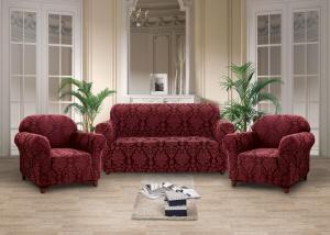 Чехлы на диван и кресла жаккард-стрейч без оборки Вишневый