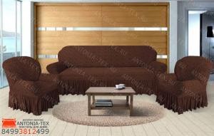 Чехлы на диван и кресла жаккард Вензель с оборкой Коричневый