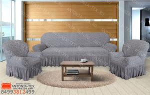 Чехлы на диван и кресла жаккард Вензель с оборкой Серый