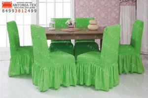 Чехлы на стулья с оборкой Салатовый (комплект - 6шт)