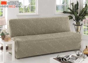 Чехол на диван без подлокотников на резинке Хаки