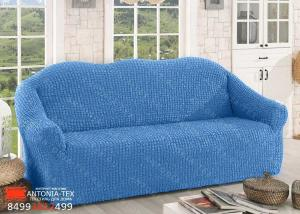 Чехол на диван Жатка без оборки (евро) Голубой
