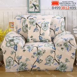 Чехол на диван эластичный без оборки с рисунком Альба