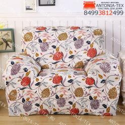 Чехол на диван эластичный без оборки с рисунком Диана
