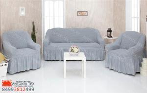 Чехлы на диван и кресла Жатка с оборкой Серый