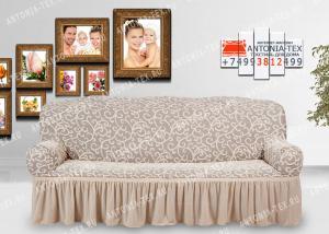 Чехол на диван Karteks буклированный жаккард с оборкой IVY-02