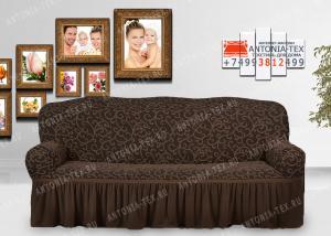 Чехол на диван Karteks буклированный жаккард с оборкой IVY-03