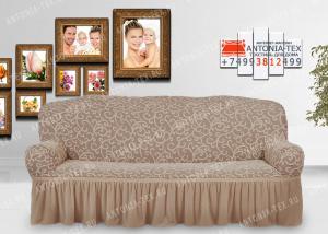 Чехол на диван Karteks буклированный жаккард с оборкой IVY-06