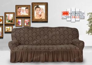 Чехол на диван Karteks буклированый жаккард с оборкой ANTIQUE-01