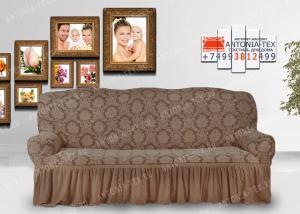 Чехол на диван Karteks буклированый жаккард с оборкой ANTIQUE-04