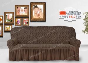 Чехол на диван Karteks буклированый жаккард с оборкой DIADEMA-03