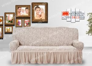 Чехол на диван Karteks буклированый жаккард с оборкой WILDBERRIES-03