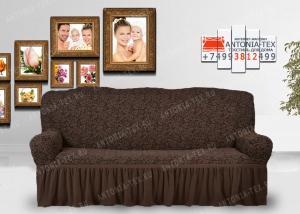 Чехол на диван Karteks буклированый жаккард с оборкой WILDBERRIES-05