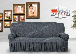 Чехол на диван Karteks буклированый жаккард с оборкой WILDBERRIES-07