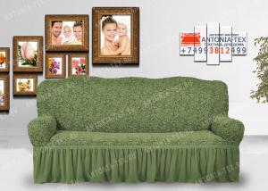 Чехол на диван Karteks буклированый жаккард с оборкой WILDBERRIES-08
