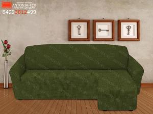 Чехол на угловой диван с оттоманкой выступом справа Зеленый