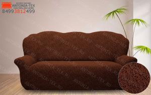 Чехол на диван жаккард без оборки Вензель коричневый