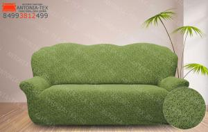 Чехол на диван жаккард без оборки Вензель зеленый