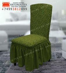 Чехол на стул со спинкой Melissa(Riksor)Жаккард Зеленый (комплект 4 шт)