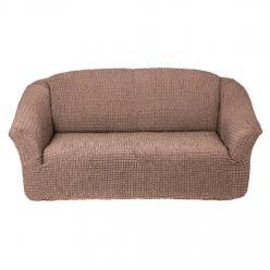 Чехол на диван без юбки на резинке, цвет Кофе с молоком