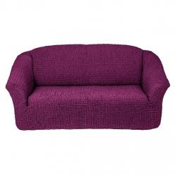 Чехол на диван без юбки на резинке, цвет Сливовый