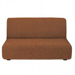Чехол на диван без подлокотников на резинке, цвет Темно-рыжий