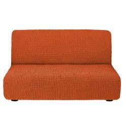 Чехол на диван без подлокотников на резинке, цвет Кирпичный