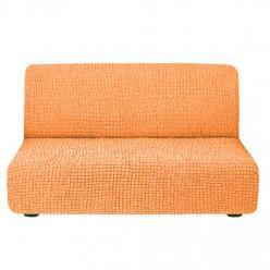Чехол на диван без подлокотников на резинке, цвет Персик