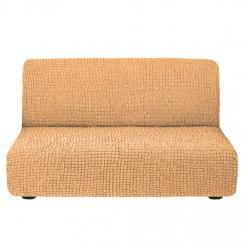 Чехол на диван без подлокотников на резинке, цвет Песочный