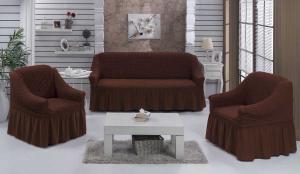 Чехол на диван и 2 кресла на резинке, цвет Шоколад