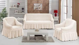 Чехол на диван и 2 кресла на резинке, цвет Натуральный