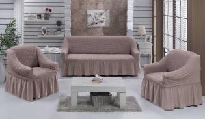 Чехол на диван и 2 кресла на резинке, цвет Жемчужный