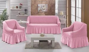 Чехол на диван и 2 кресла на резинке, цвет Розовый