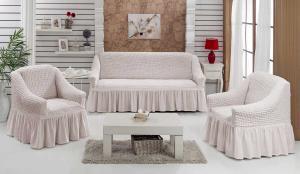 Чехол на диван и кресла на резинке с юбкой Кремовый