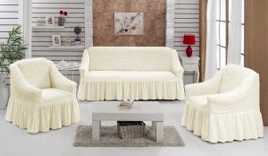 Чехол на диван и кресла на резинке с юбкой Шампань