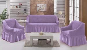 Чехол на диван и 2 кресла на резинке, цвет Сиреневый