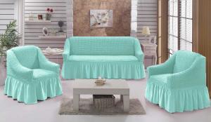 Чехол на диван и 2 кресла на резинке, цвет Бирюзовый