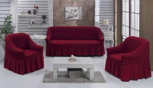 Чехол на диван и 2 кресла на резинке, цвет Бордовый