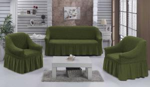Чехол на диван и 2 кресла на резинке, цвет Зеленый