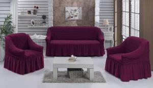 Чехол на диван и 2 кресла на резинке, цвет Сливовый