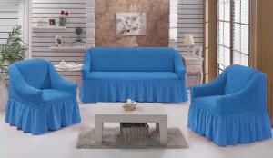 Чехол на диван и 2 кресла на резинке, цвет Голубой