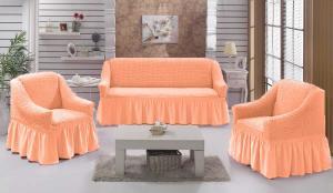 Чехол на диван и 2 кресла на резинке, цвет Персик