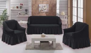 Чехол на диван и 2 кресла на резинке, цвет Антрацит