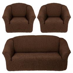 Комплект чехлов на диван и два кресла без оборки Шоколад