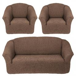 Чехлы на диван и кресла без юбки Какао