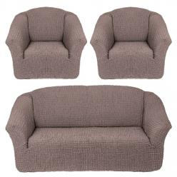 Чехлы на диван и кресла без юбки Жемчужный