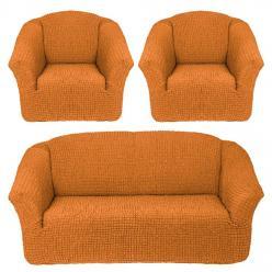 Чехол на диван и 2 кресла без юбки, цвет Рыжий